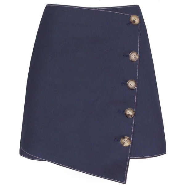 Baxter Denim Asymmetric Button Skirt ($102) ❤ liked on Polyvore featuring skirts, asymmetrical skirt, stretchy skirts, stretch skirts and button skirt