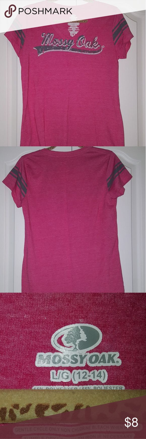 Mossy Oak pink v-neck t-shirt Good condition. Worn a couple times. Size: large. Color: pink, gray, white Mossy Oak Tops Tees - Short Sleeve