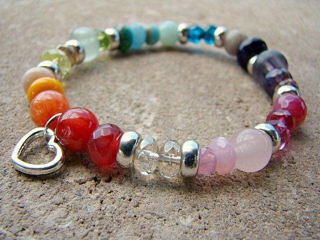 Gemstone Bracelet, Colorful Bracelet, Beaded Bracelet, Boho Bracelet, Colorful Jewelry, Beaded, Stretch Bracelet, Stacking Bracelet, Elastic by BeJeweledByCandi on Etsy