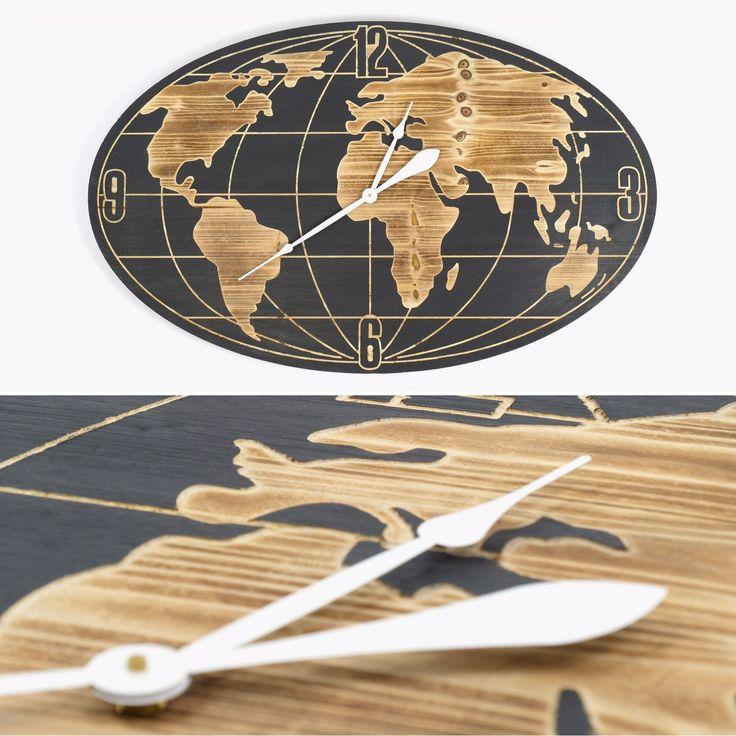 Relógio Mundo Preto e Dourado 109 x 68 cm | referência 74070191 | A Loja do Gato Preto | #alojadogatopreto | #shoponline