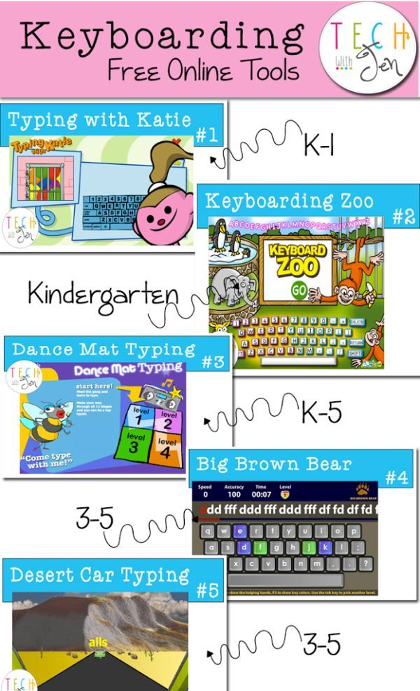 Great list of websites for teaching students who are learning how to type in schools.