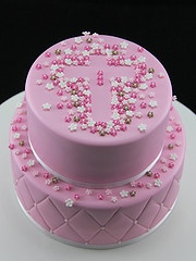 Pink Christening Cake or even an Easter cake if done in yellow, orange, green or lilac.