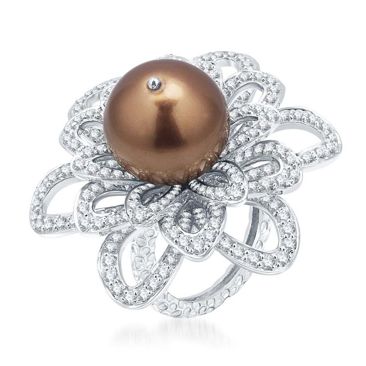 Convex Chocolate Pearl Ring  Product Code : ADR1400020 Type : Chocolate Pearl, Swarovski Color : Brown  #SilverRingsForWomen, #SilverRingsForGirl, #BuySilverRingsOnlineIndia, #SilverRingsShopping, #SilverRingsShoppingOnline, #DesignerRings, #Rings, #DesignerSilverRingsOnline, #BuyDesignerSilverRings