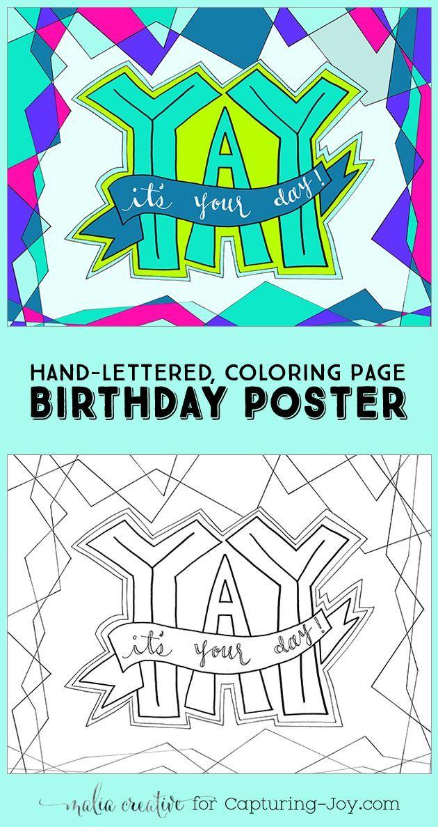 YAY! It's your day! Birthday printable idea. maliacreative.com