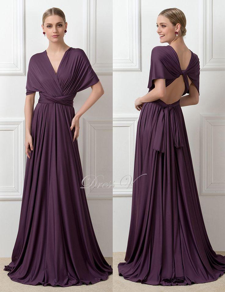 Новое поступление кабриолет сексуальная спинки фиолетовый платья для подружек невесты 2016 Большой размер платье-линии длинные фрейлина ну вечеринку платья