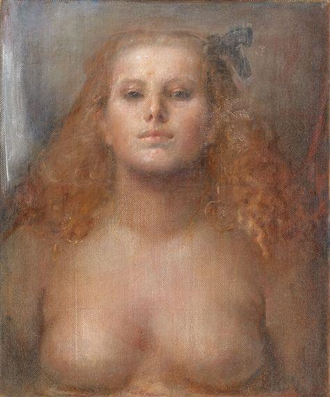 Artwork by Odd Nerdrum, Pike med rodt hår/Flicka med rött hår, Made of Oil