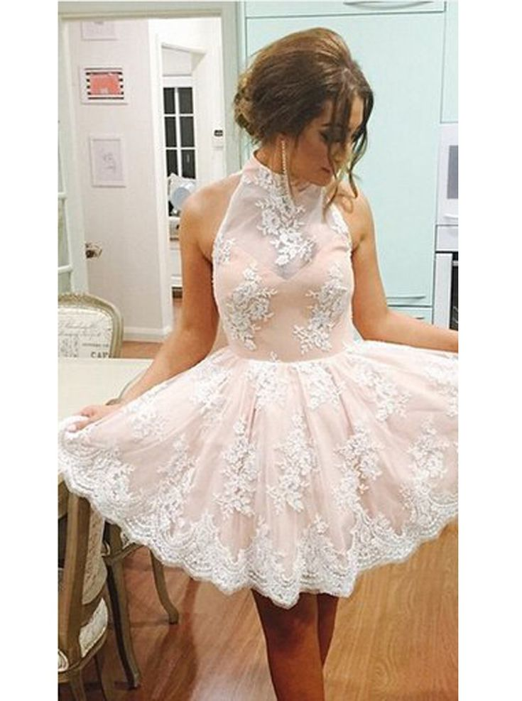 Buy Sexy A-line High Neck Knee-Length Tulle Ivory Homecoming Prom Dress with Appliques 2016 Homecoming Dresses under US$ 126.99 only in SimpleDress.