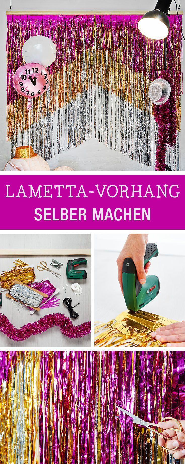 Vorhang aus Lametta für die Silvester-Get together selbermachen, Photobooth bauen / diy inspiration for a …