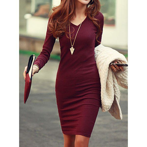 V-Neck Long Sleeve Solid Color Bodycon Knitted Women's Dress
