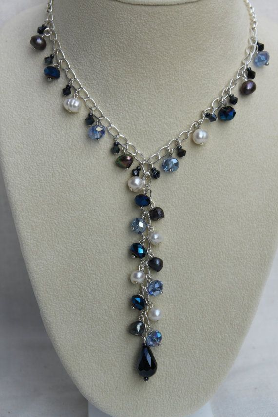 Freshwater Pearl and Crystal Y Necklace.