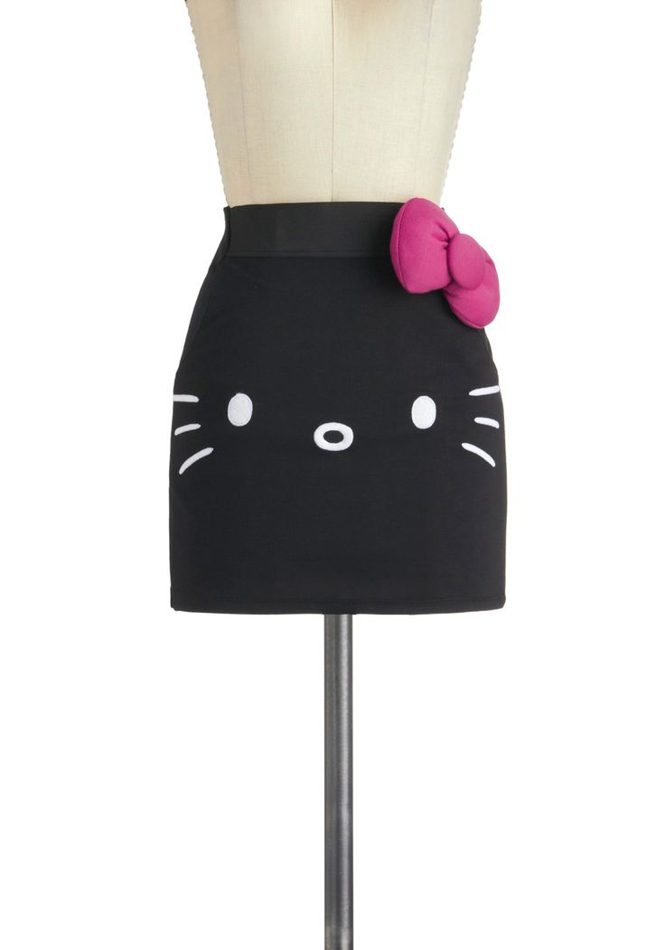 mmmm....this is a no for me | Mew Complete Me Skirt - Short, Black, Pink, White, Bows, Girls Night Out, Mini, Print with Animals, Kawaii