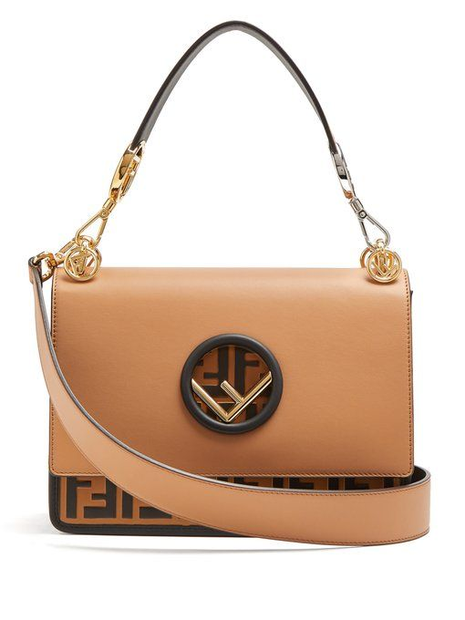 6f17f8bac3c3 Fendi Kan I logo-embossed leather shoulder bag