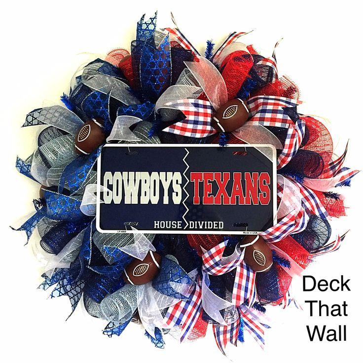 Dallas Cowboys / Houston Texans Mesh Wreath