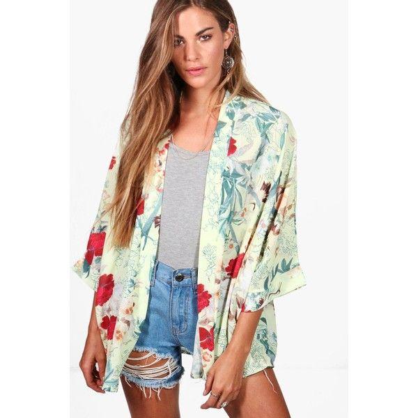 Boohoo Kerry Tropical Print Chiffon Kimono (€26) ❤ liked on Polyvore featuring outerwear, jackets, longline duster coat, longline kimono, duster coat, white chiffon kimono and white kimono