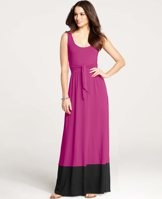 """Colorblocked Maxi Dress - A simple shot of color amps up the chic factor of this endlessly versatile - and flattering - maxi dress. Scoop neck. Sleeveless. Self tie waist. 41"""" from natural waist."""