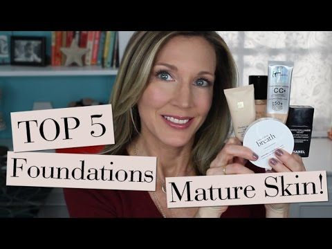"Here are my Top 5 Foundations for Mature Skin from the ""Foundation Friday for Over 50"" Series! Click Here to go to the Ranked List of all 100+ Foundations I'..."