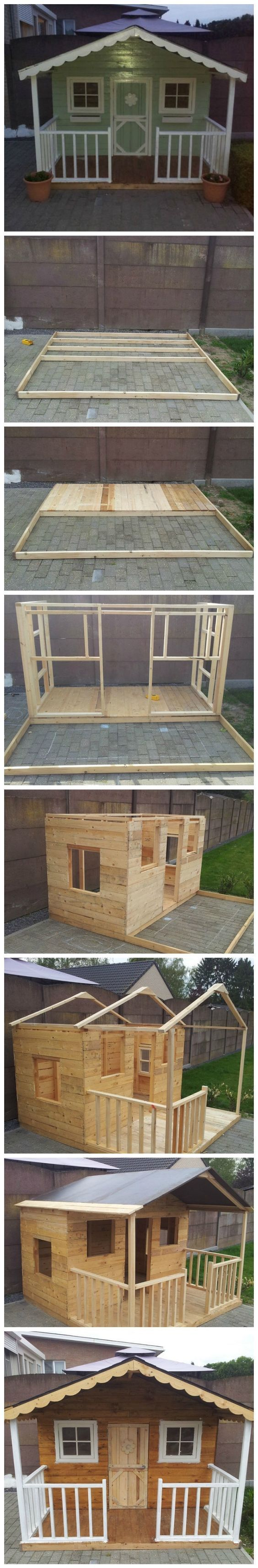 Good how to for possible shed, just build to a little larger scale...DIY Pallets Playhouse #playhousebuildingplans