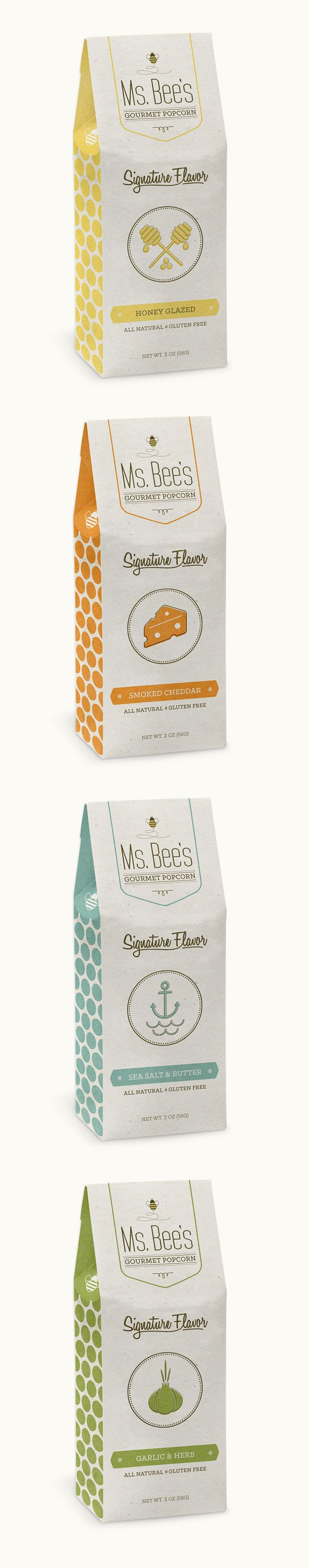 Ms. Bee's Gourmet Popcorn by Alex Chernault, via Behance