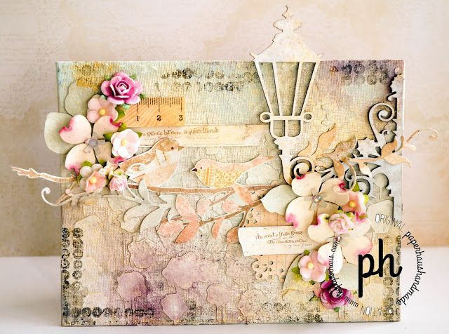 Altered Canvas using Memory Maze Chipboard, Prima Patterend Paper, Prima Stamps & Stencils, Twinkling H2O, Sizzix Dies