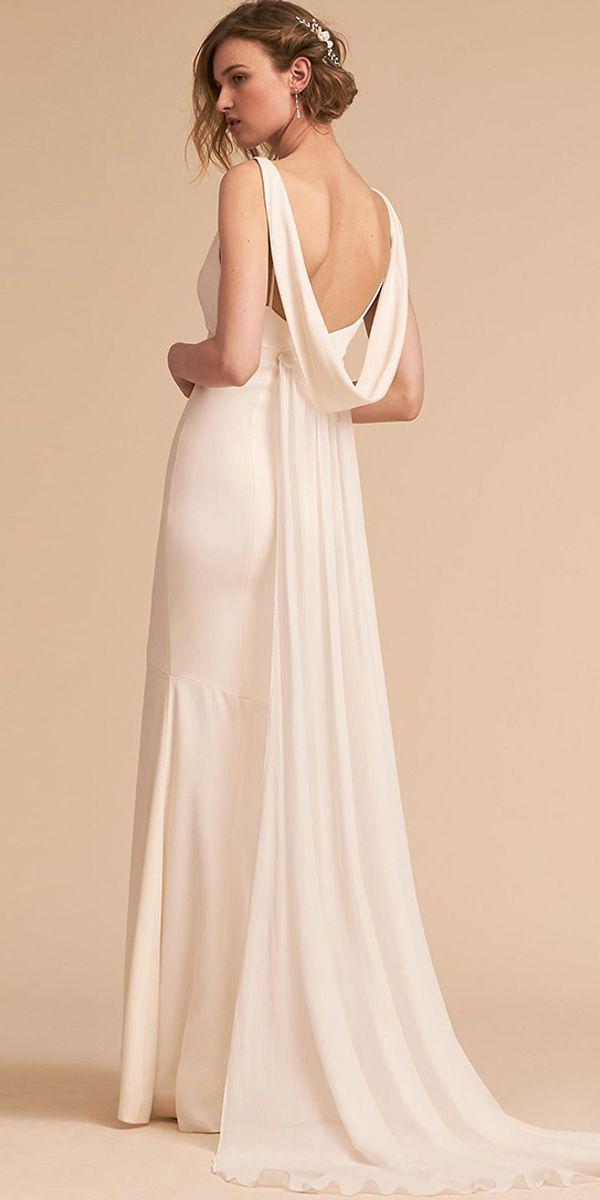 New Modest Acetate Satin Cowl Neckline Sheath Column Wedding Dress With Detachable Train Column Wedding Dress Wedding Dresses Satin Cape Wedding Dress