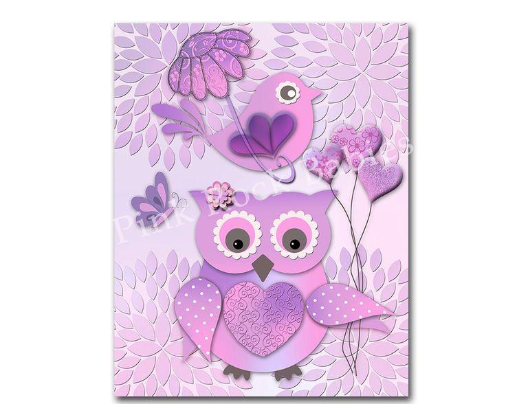 Purple owl lavender nursery wall decor bird nursery art baby girl room poster children artwork kids room decoration playroom dahlia print (10.00 EUR) by PinkRockBabies