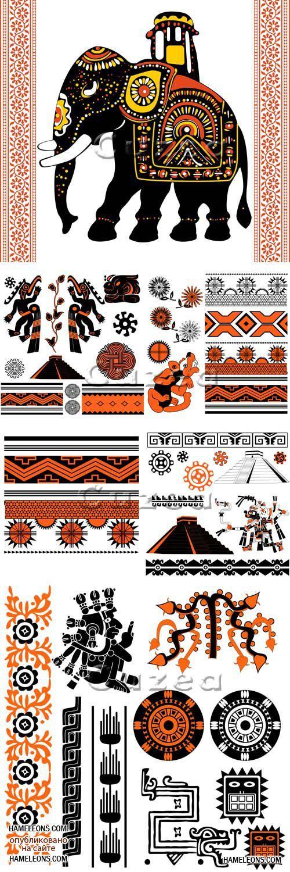 Этнический индийский орнамент и майя атрибутика в векторе