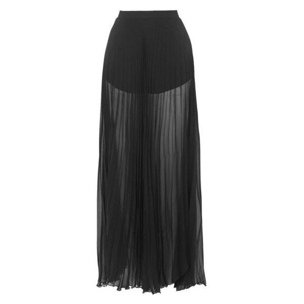 TOPSHOP Tasha Pleated Sheer Skirt by Jovonna ❤ liked on Polyvore featuring skirts, ankle length skirts, floor length skirt, jovonna, sheer pleated maxi skirt and sheer maxi skirt