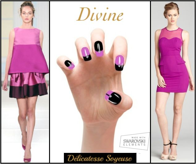 Made With Swarovski Elements. Délicatesse soyeuse is a chic & classy set of black nails instant press-on manicure with purple details. Those colors remind the softness of the season with a bright touch thanks to the central rock.