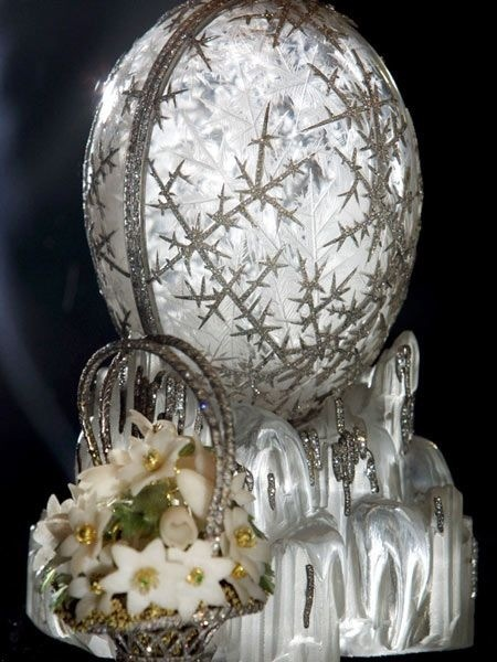 "The Winter Egg, considered by experts to be the most beautiful of all of the Faberge Eggs and the most expensive one. It was created by Alma Pihl, the only woman-master of The House of Faberge in 1913 for Maria Feodorovna, the mother of Nikolay II. The ""surprise"" inside is a basket of windflowers. Today the egg is kept in the collection of The Qatar's Emir"