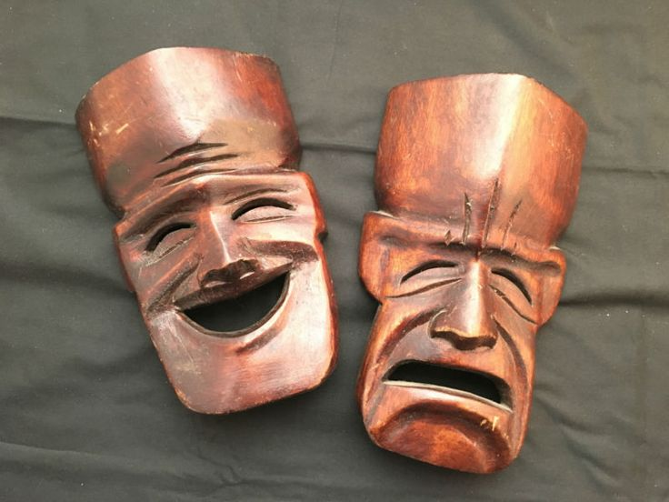Carved Wood Theater Comedy - Tragedy Masks Wall Sculpture Decor M11 in Home Garden , Home Décor , Wall Sculptures |eBay