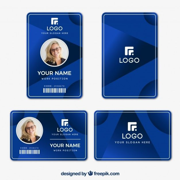 Free Id Card Template With Flat Design Svg Dxf Eps Png Di 2020