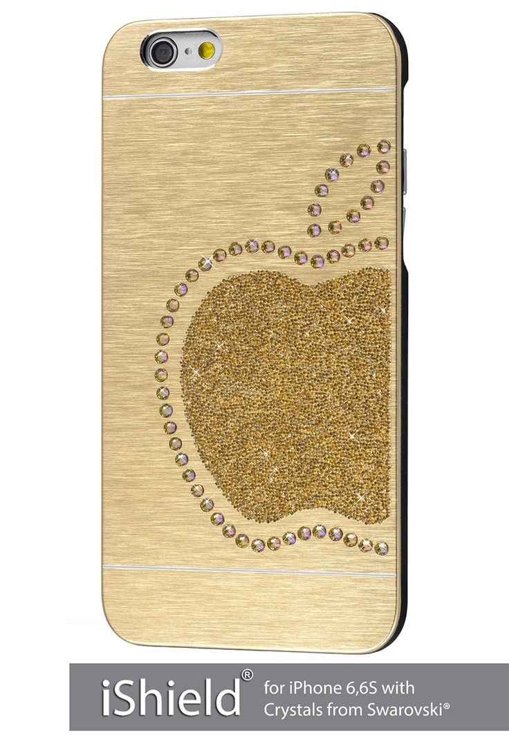 iShield® 6 Light mit Crystals from Swarovski® Luxus Hülle /Schale / Schutzhülle für iPhone 6,6S Plus aus gebürstetem Aluminium mit Swarovski Elementen , Marke und Model: iShield® 6 Light Hülle Apfel König Champagne Gold: Amazon.de: Elektronik