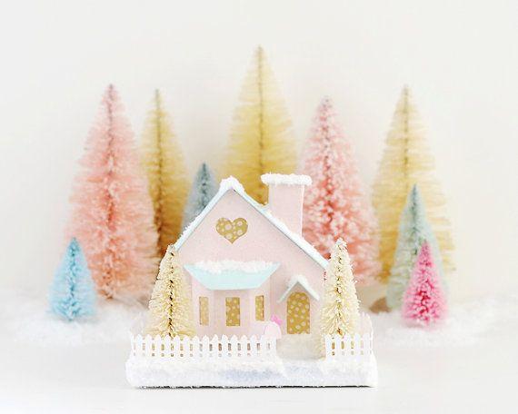 Valentine Putz Glitter House Decoration Bay by HolidaySpiritsDecor, $36.00