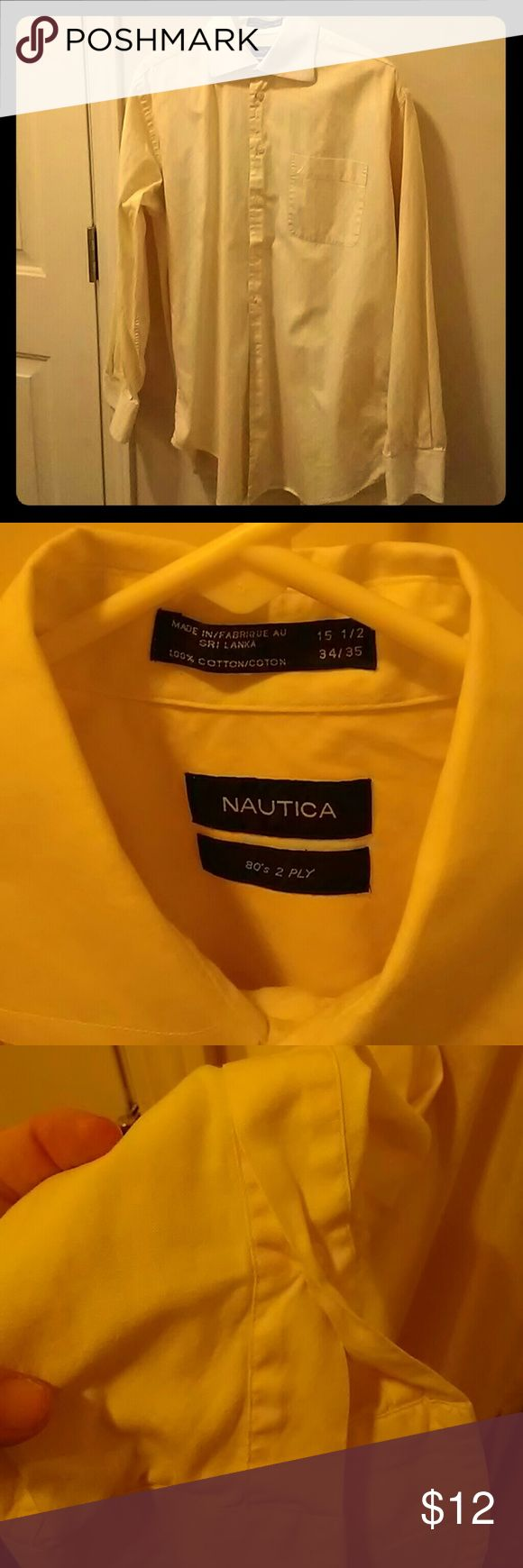 Nautica 80's 2 Ply Button down Yellow dress shirt with white collar.  15 1/2 34/35 Small stain on inside of cuff on arm, shown in picture. Very little wear, quality feeling shirt. Nautica Shirts Dress Shirts