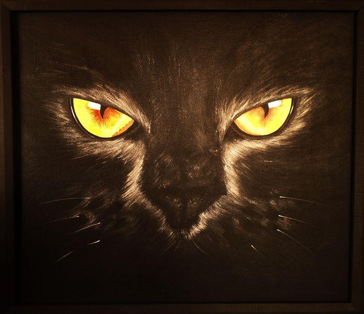 """""""Gato Negro"""" Acrilico sobre madera 60 x 70 Cms. 2016."""