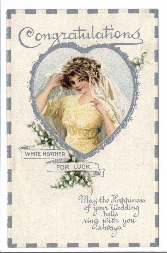 Wedding postcard - Bride and White Heather 1910 #Wedding
