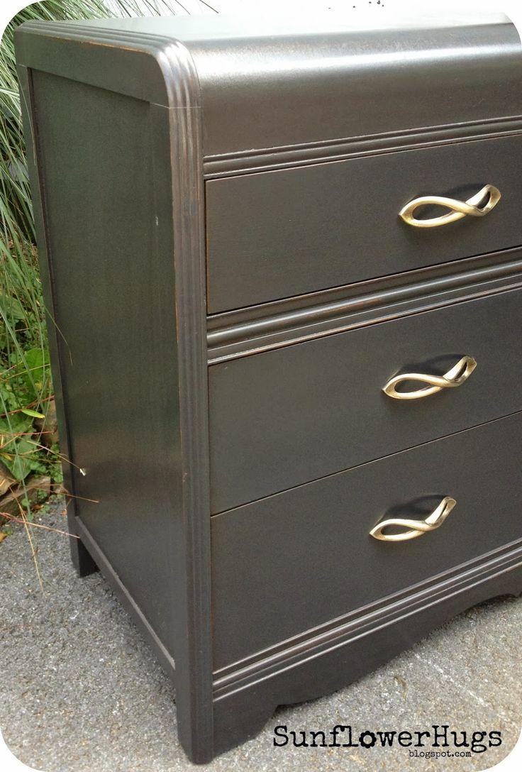 Sunflowerhugs black waterfall dresser metallic glaze over for Black chalk paint dresser