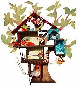 Compleet poppenhuis met popjes