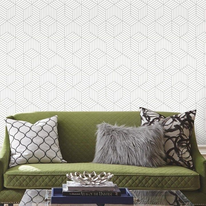 A Roll Of Peel And Stick Hexagonal Print Wallpaper That You Can Use To Line Your Drawers Update Your Furniture Or Cover Up A Bad Paint Job It S Waaaay Easier Peel And Stick Wallpaper