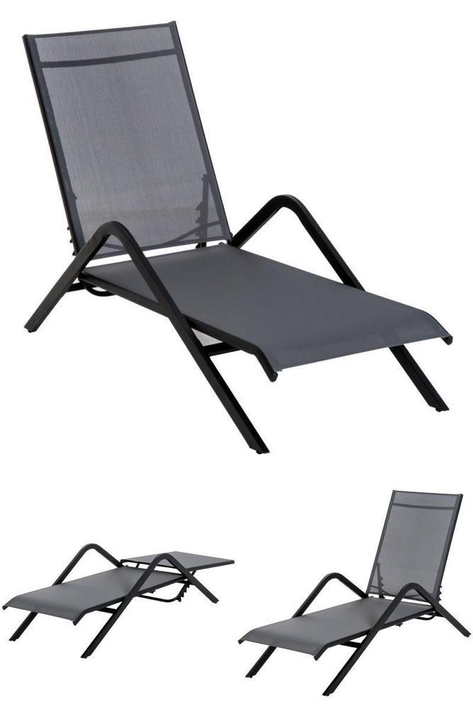 Grey Metal Sun Lounger Adjustable Folding Camping Garden Pool Chair Chaise Bed Sungarden Pool Chairs Sun Lounger Patio Chairs