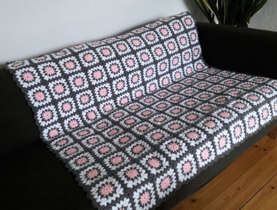Pink Throw Blanket Pink & Grey Crochet Blanket by PhoenixSmiles