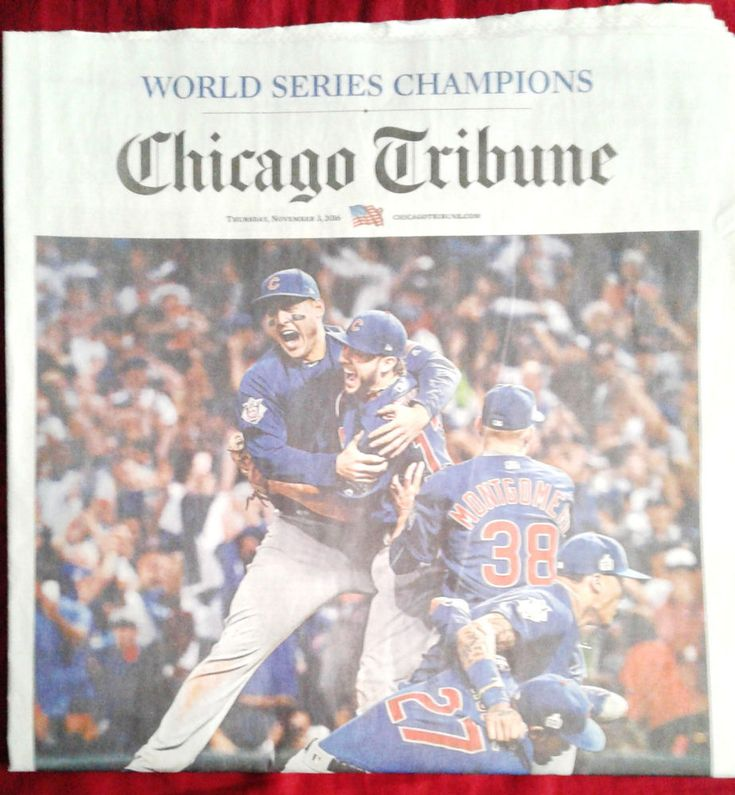 """CUBS WIN World Series Chicago Tribune """"At Last"""" 108yr drought Gm7 Sports Final"""