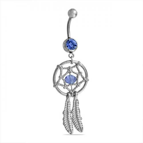 316L Steel Sapphire Color Crystal Dream Catcher Dangle Belly Ring