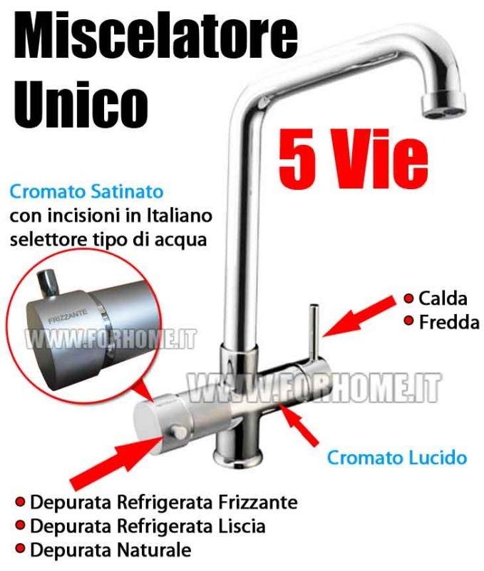 MISCELATORE UNICO CROMO/SATIN 5 VIE PER REFRIGERATORI GASATORI ACQUA CALDA/FREDDA REFRIG.LISCIA/REFRIG.GASATA/NATURALE  € 366,90