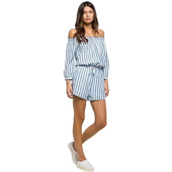 Striped Playsuit (200 AUD) ❤ liked on Polyvore featuring jumpsuits, rompers, summer romper, playsuit romper, blue rompers, blue long sleeve romper and off the shoulder romper