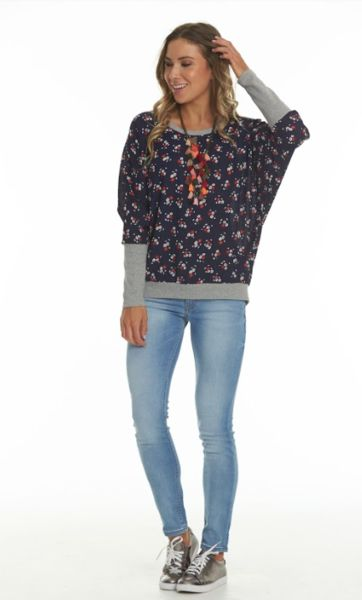 Charlo Molly Top Ditzy Navy Floral Print woven with grey rib on arm cuffs and waistband.