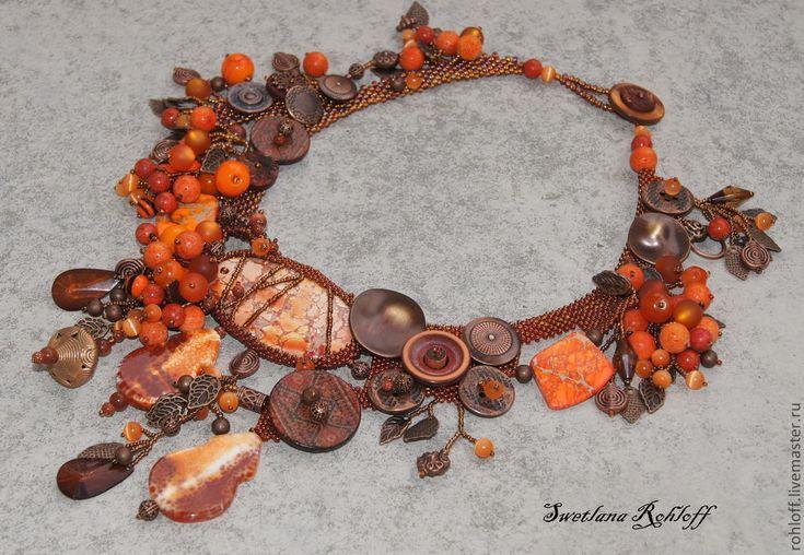 Купить Колье ,, Рябиновая осень,, - колье, уникальный подарок, украшение из бисера, дизайнерские украшения