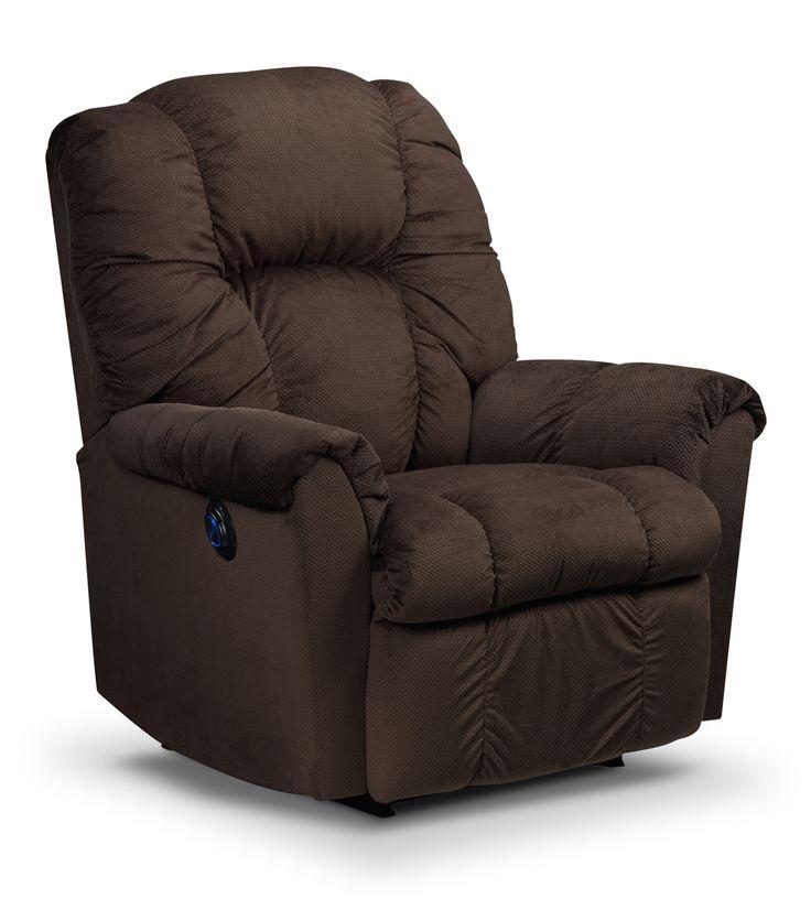 Living Room Furniture - Amaretto Power Rocker Recliner - Brown
