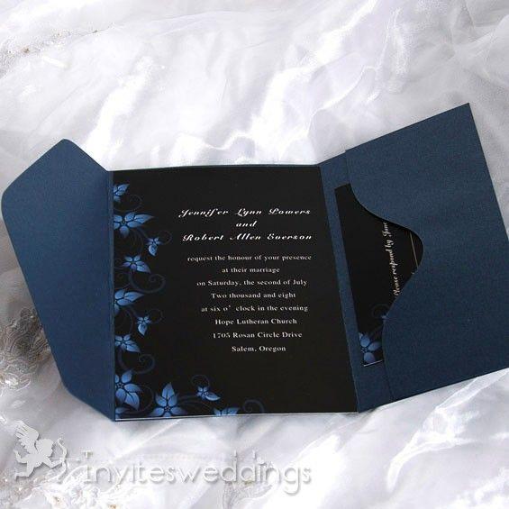 Simple Brown Swirls Pocket Wedding Invitations IWPS069 Online InvitesWeddings