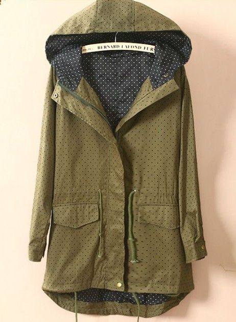 Green Hooded Long Sleeve Polka Dot Pockets Coat